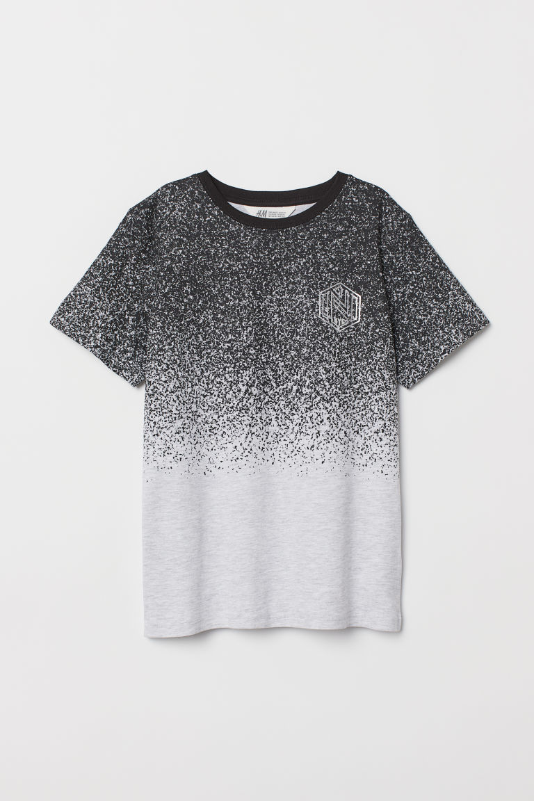 Printed T-shirt - Grey/Black marl - Kids | H&M IE