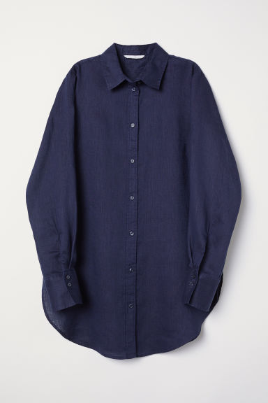 Linen shirt - Midnight blue - Ladies | H&M CN