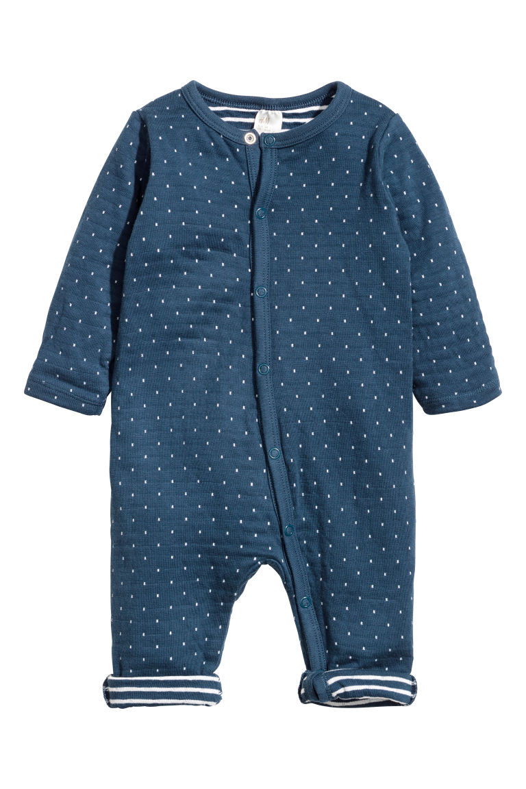 Cotton all-in-one pyjamas - Dark blue/White spotted - Kids | H&M CN