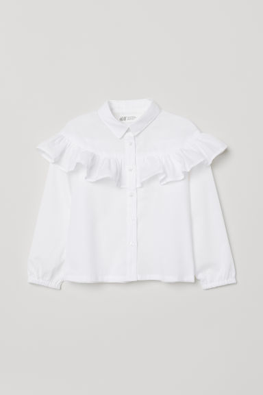Flounce-trimmed blouse - White - Kids | H&M