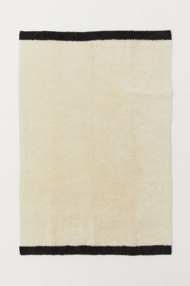 Wool-blend rya rug - Natural white/Dark grey - Home All | H&M GB