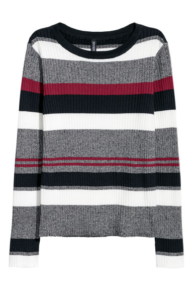 Ribbed jersey top - Dark blue/Striped - Ladies | H&M