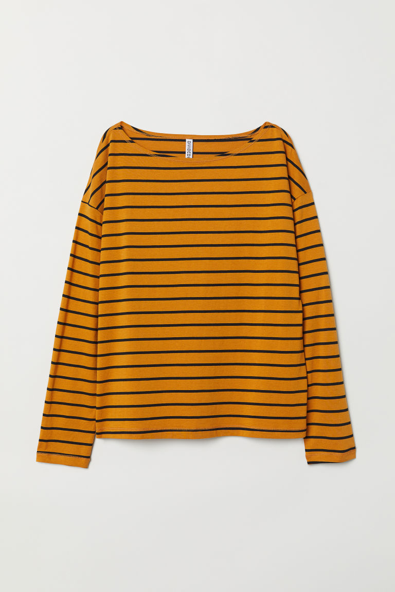 Boat-necked jersey top - Mustard yellow/Black striped - Ladies | H&M CN