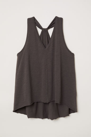 Marled jersey vest top - Dark grey - Ladies | H&M