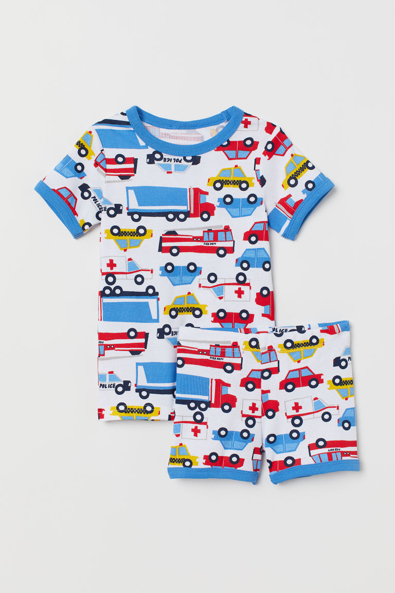 Jersey pyjamas - White/Cars - Kids | H&M GB