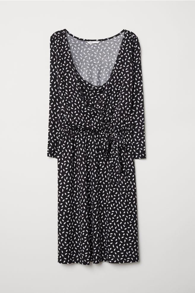 729318ad91c3c MAMA Nursing Dress - Black/dotted - Ladies | H&M ...