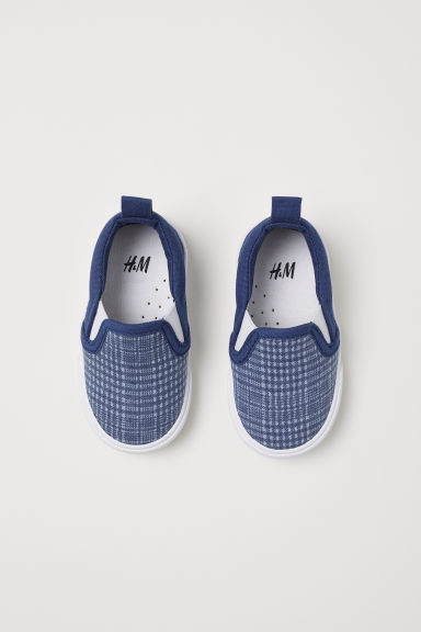 Slip-on sneakers - Donkerblauw/geruit -  | H&M BE