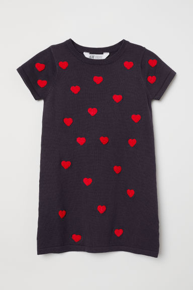 Dress with appliqué - Dark blue/Hearts - Kids | H&M