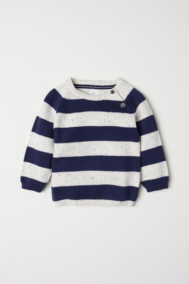 Fine-knit cotton jumper - Dark blue/Striped - Kids | H&M CN
