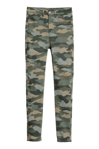 Super Skinny High Jeans - Khaki green/Patterned - Ladies | H&M