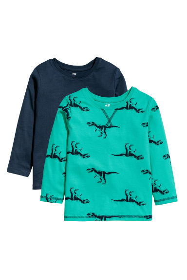2-pack jersey tops - Bright green/Dinosaurs -  | H&M