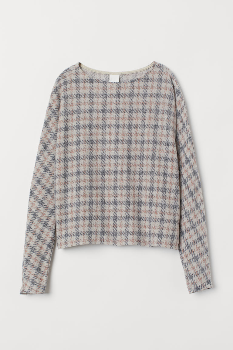 Top with dolman sleeves - Light beige/Checked - Ladies | H&M GB