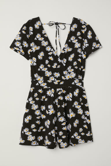 Playsuit - Zwart/wit bloemen - DAMES | H&M BE