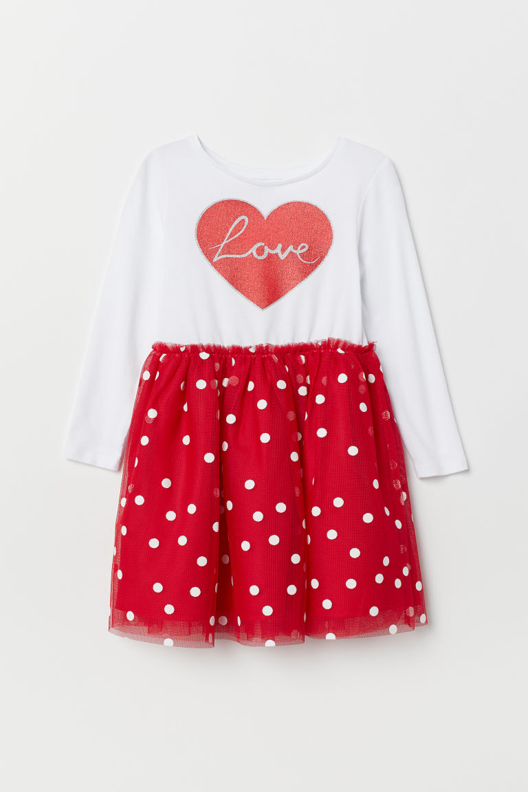 Dress with Tulle Skirt - Red/white - Kids | H&M US