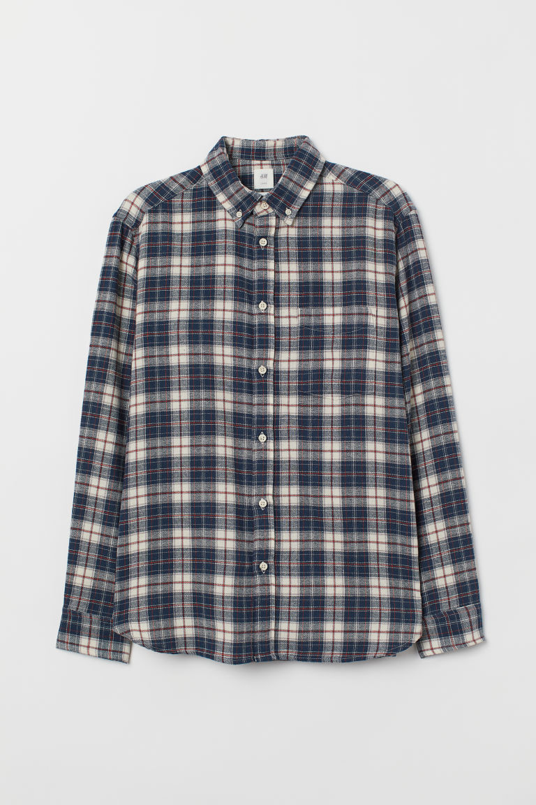Cotton shirt Regular Fit - Dark blue/Natural white - Men | H&M