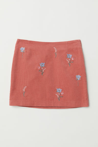 Embroidered corduroy skirt - Old rose - Ladies | H&M