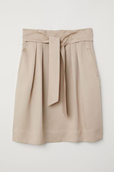 Skirt with a tie belt - Beige - Ladies | H&M CN