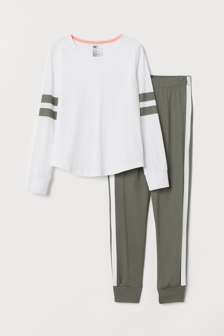 Jersey pyjamas - Khaki green/White - Kids | H&M CN