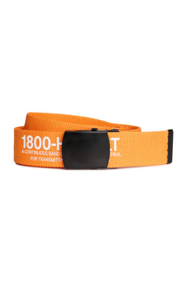 Fabric belt with a text print - Orange - Men | H&M