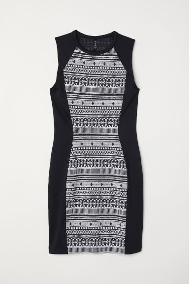 Sleeveless jersey dress - Black/White -  | H&M CN