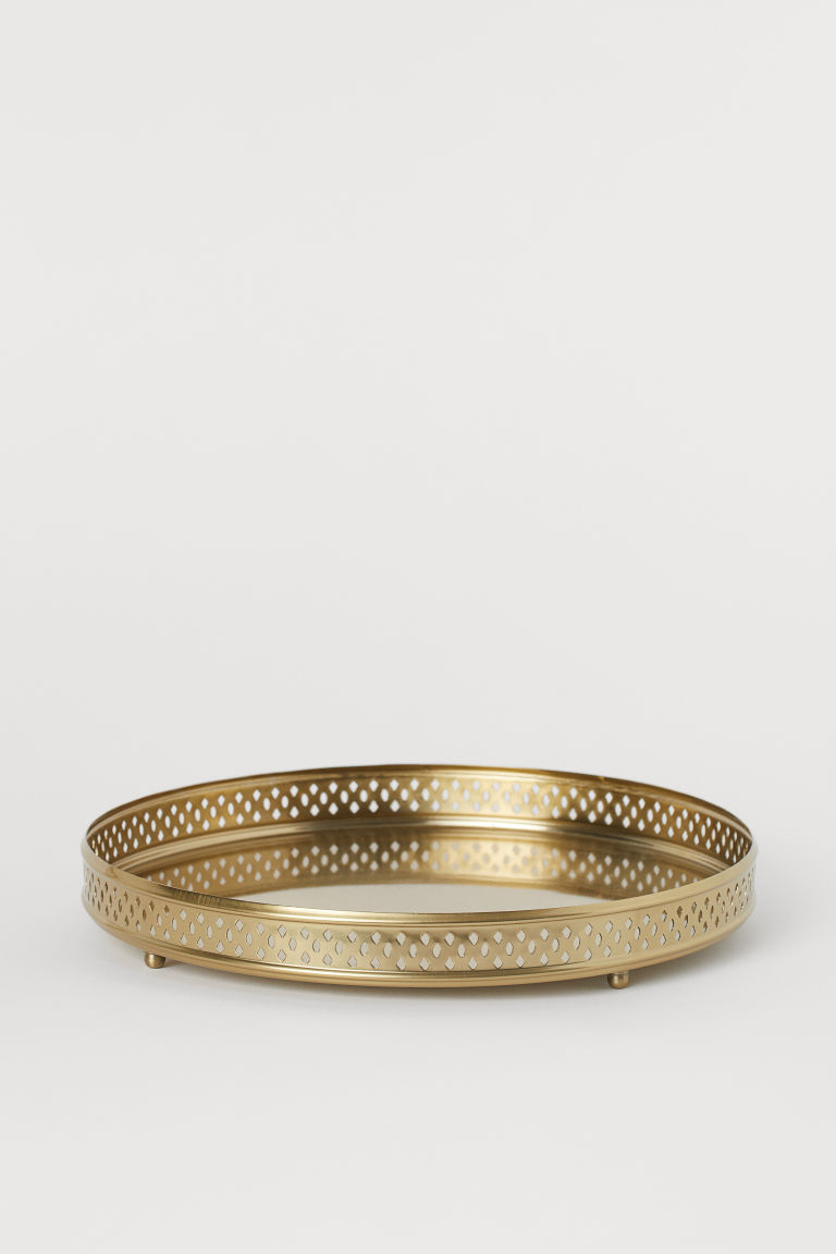 Round metal tray - Gold-coloured - Home All | H&M GB