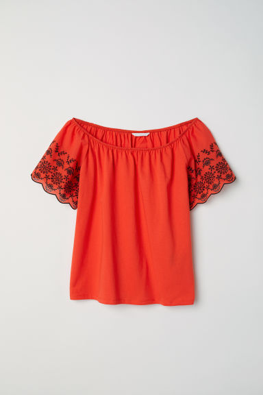 Top with embroidery - Red -  | H&M