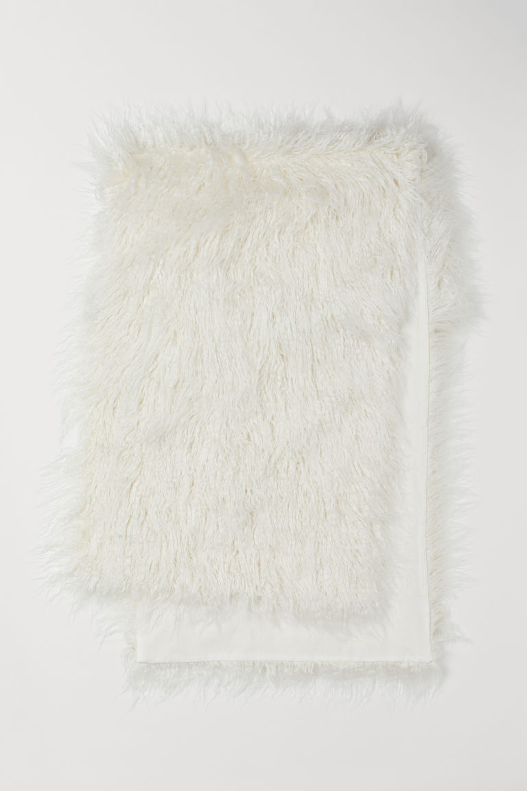 Faux fur bed runner - White - Home All | H&M CN