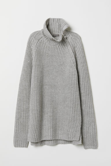 Polo-neck jumper with a zip - Light grey - Men | H&M