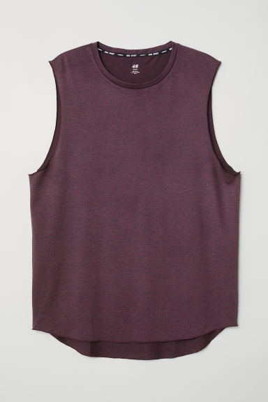 Sports vest top - Burgundy marl - Men | H&M