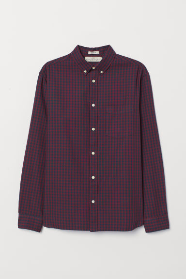 Oxford shirt Regular Fit - Burgundy/Dark blue checked - Men | H&M