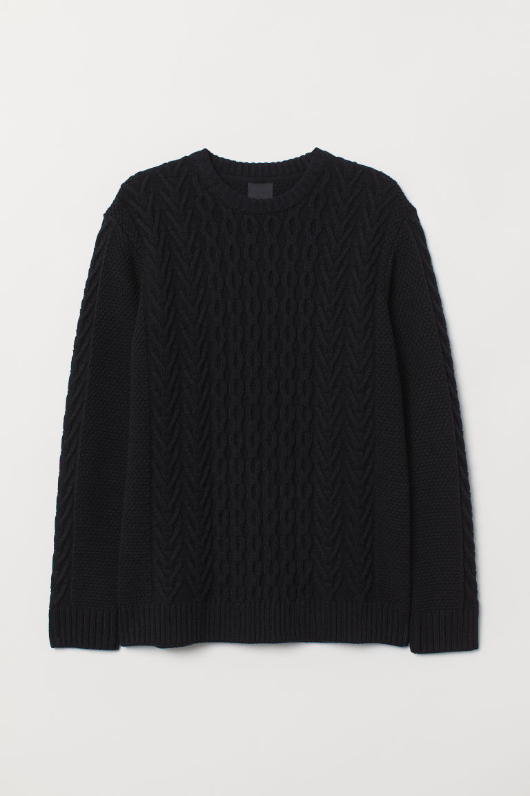 Cable-knit jumper - Black - Men | H&M CN