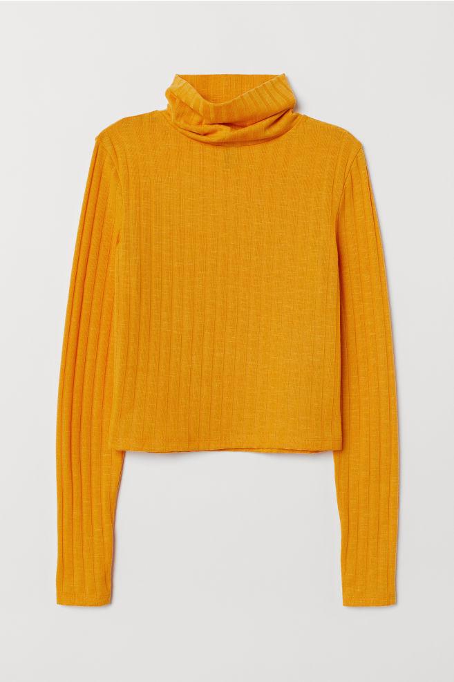 516616f2f816ba Rib-knit polo-neck jumper - Yellow - | H&M ...