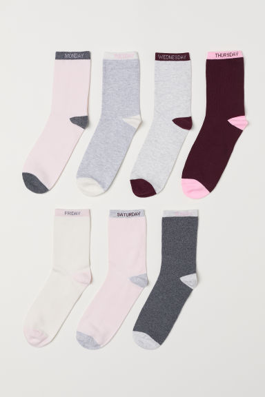 7-pack socks - Light pink/Days of the Week -  | H&M