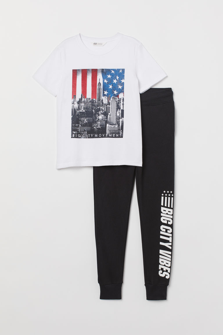 T-shirt and joggers - White/Black - Kids | H&M CN