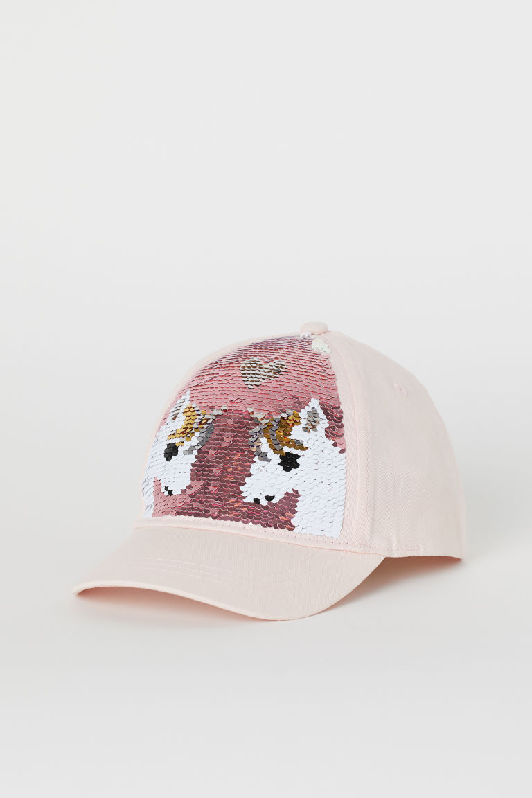 Cap with Reversible Sequins - Light pink/unicorns - Kids | H&M US