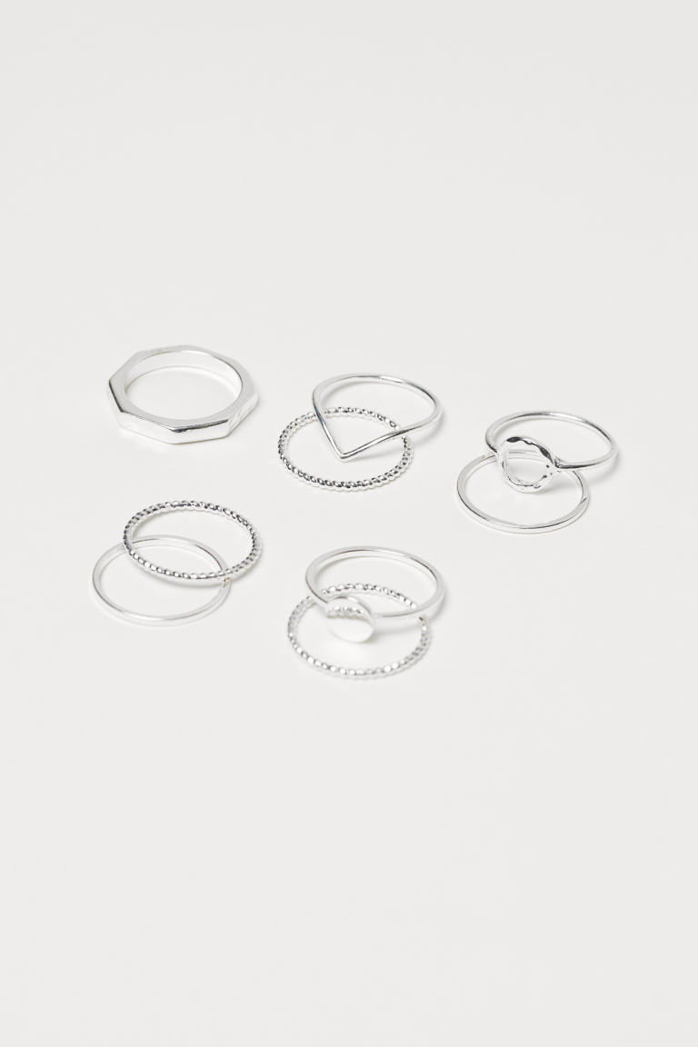 9-pack Rings - Silver-colored - Ladies | H&M CA