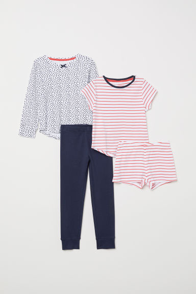 2-pack jersey pyjamas - White/Spotted - Kids | H&M
