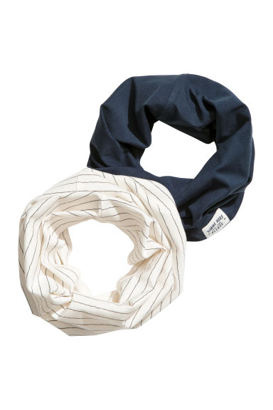 2-pack jersey tube scarves - Dark blue/Striped - Kids | H&M CN