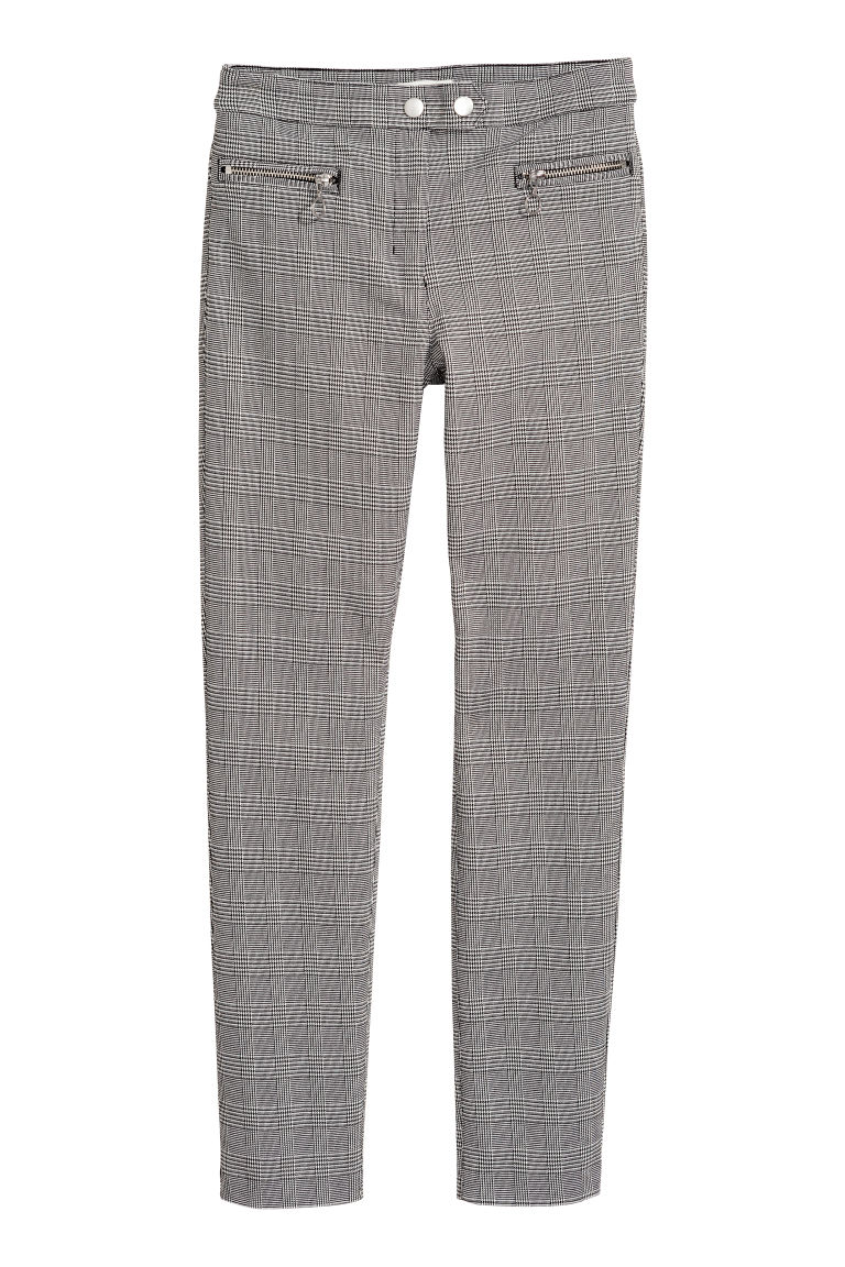 Smart stretch trousers - Dogtooth-patterned - Ladies | H&M