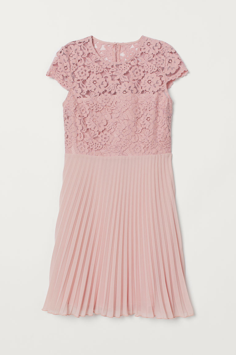 Pleated Lace Dress - Powder pink - Ladies | H&M US