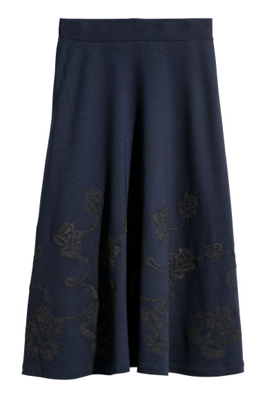 Knee-length skirt - Dark blue/Embroidery - Ladies | H&M