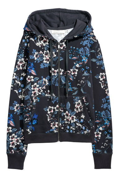 Patterned hooded jacket - Dark blue/Floral -  | H&M