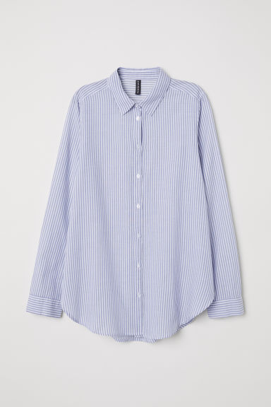 Cotton shirt - White/Light blue striped - Ladies | H&M