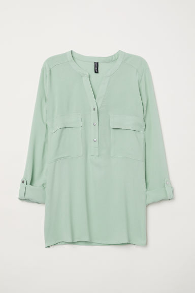 V-neck blouse - Dusky green - Ladies | H&M