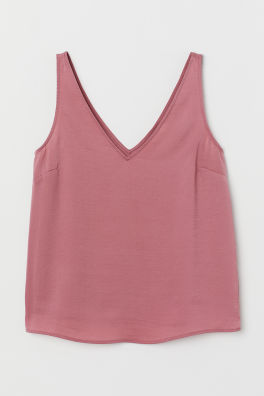 7e23d0fd2f V-neck Satin Tank Top - White - Ladies | H&M US