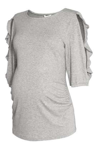 MAMA Jersey top with flounces - Grey marl -  | H&M