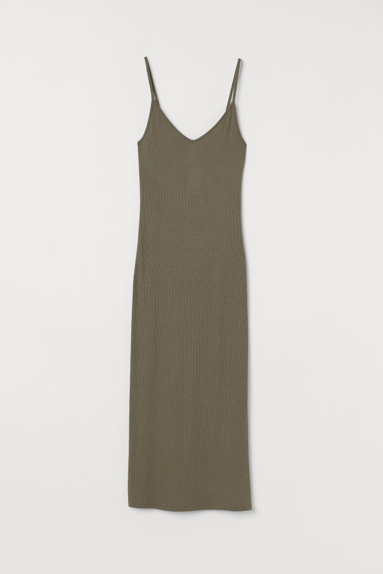 Ribbed Dress - Khaki green -  | H&M CA