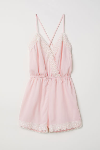 Playsuit with lace - Light pink - Ladies | H&M