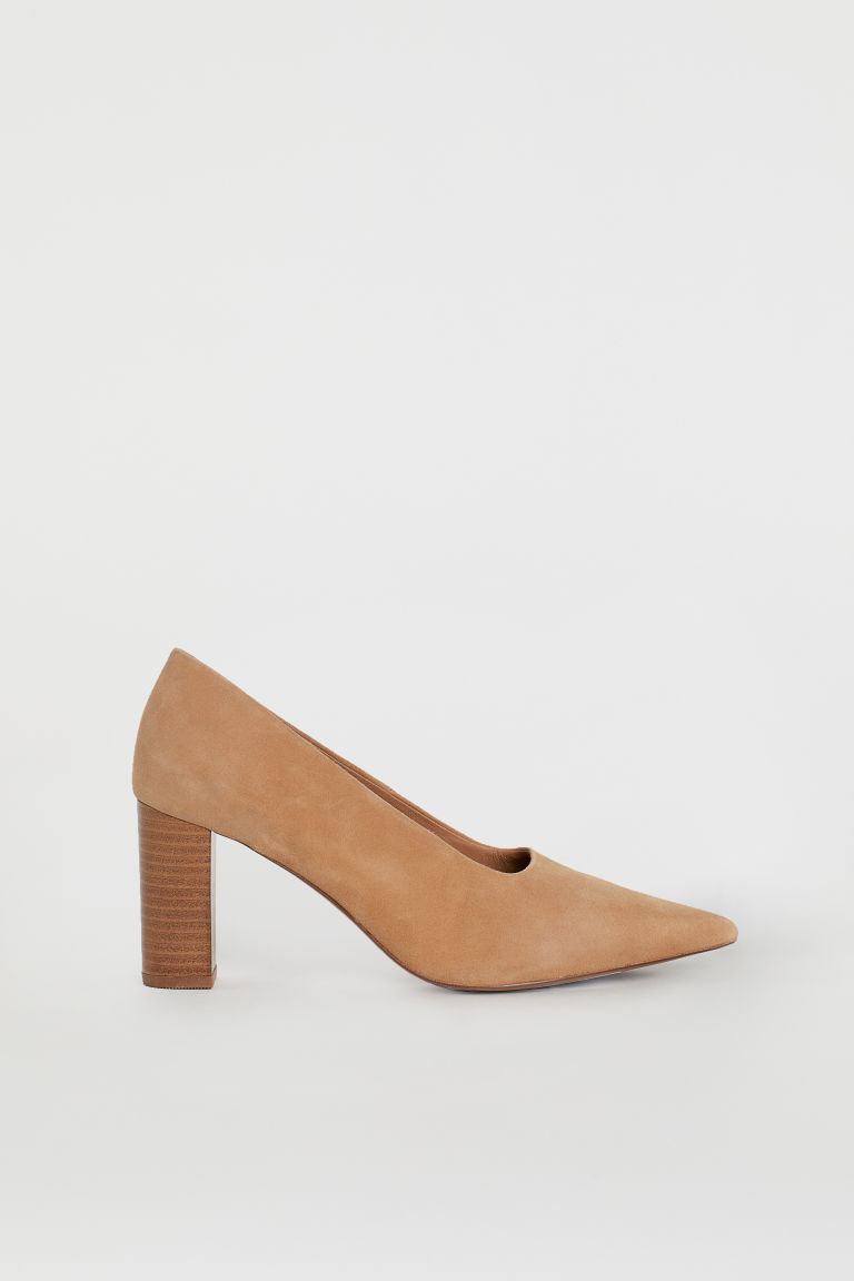 Block-heeled Pumps - Dark beige/suede - Ladies | H&M US