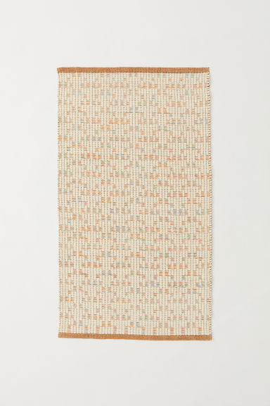 Jacquard-weave wool-blend rug - Light brown/Natural white - Home All | H&M CN